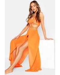 Boohoo Premium Neon Jewelled Beach Co-ord - Orange