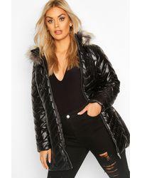 Boohoo Plus High Shine Puffer Parka Faux Fur Coat - Black