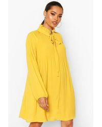 Boohoo Pussy Bow Pleated Shift Dress - Yellow