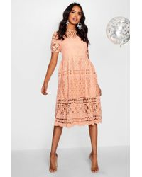Boohoo Boutique Floral Pleat Lace Up Skater Dress in White - Lyst 7cfd65cf5