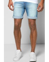 Boohoo   Skinny Fit Mid Wash Denim Shorts In Mid Length   Lyst
