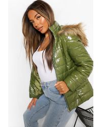 Boohoo Petite High Shine Faux Fur Trim Hooded Coat - Green