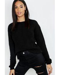Boohoo Tall Waffle Knit Sweater - Black