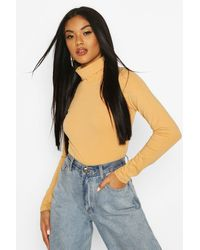 Boohoo Nude Long Sleeved Roll Neck Top - Multicolour
