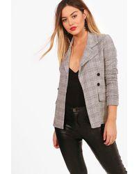 Boohoo Petite Check Button Sleeve Blazer - Grey