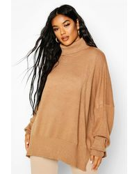 Boohoo Oversized Turtle Neck Knitted Jumper - Natural