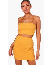 Boohoo Strappy Crop And Mini Skirt Two-piece Set - Orange