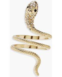Boohoo Plus Snake Diamante Ring - Metallic