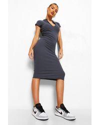 Boohoo High Neck Zip Detail Midi Dress - Gris