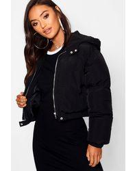 Boohoo Petite Hooded Crop Padded Coat - Black