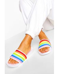 Boohoo Rainbow Pool Slider - White