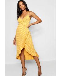 Boohoo Tall Polka Dot Ruffle Wrap Dress - Jaune