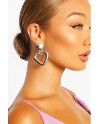 Boohoo Hammered Oversized Heart Statement Earrings - Metallizzato