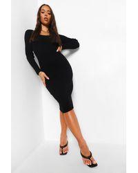 Boohoo - Square Neck Premium Rib Midi Dress - Lyst