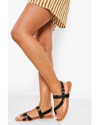 Boohoo Wide Fit Asymmetric Strap Sandal - Black