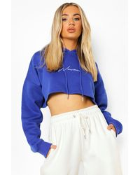 Boohoo Cropped Woman Embroidered Hoodie - Blue