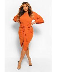 Boohoo Plus Kimono Sleeve Wrap Over Midi Dress - Orange