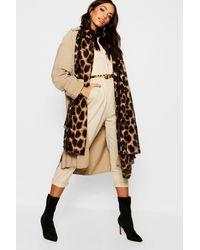 Boohoo Leopard Oversized Blanket Scarf - Brown