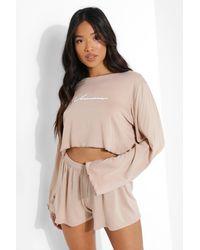 Boohoo Set De Pantalones Cortos De Pijama Con Inscripción Woman Petite - Neutro