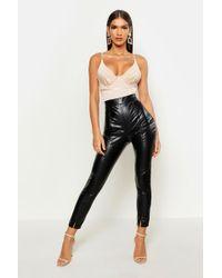 Boohoo Womens Leather Look Split Front Leggings - Black - 8