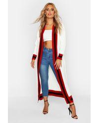 Boohoo Plus Stripe Maxi Length Cardigan - White