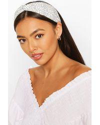 Boohoo Micro Spot Twist Headband - White