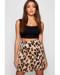 ae43511b2 Boohoo Snake Print Leather Look A Line Mini Skirt - Lyst