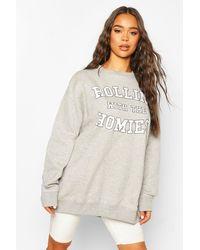 Boohoo Womens Oversized Sweatshirt Mit Rolling With The Homies Slogan - Grau