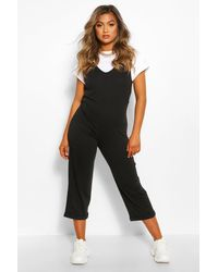 Boohoo Soft Loopback Slouch Overall With Pockets - Black