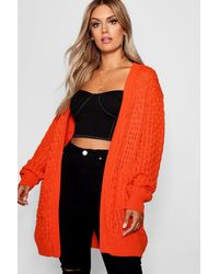 Boohoo Plus Crochet Knitted Oversized Cardigan - Arancione