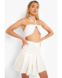 Boohoo Tonal Zebra Print Pleated Mini Tennis Skirt - Natural
