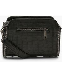 Boohoo Croc Pu Zip Detail Cross Body Bag - Black