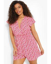 Boohoo Plus Floral Ruffle Sleeve Playsuit - Rosa