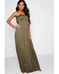 Boohoo Womens Shirred Bandeau Maxi Dress - Green