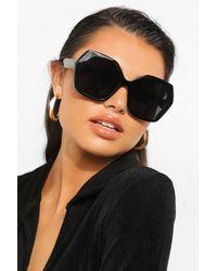 Boohoo Hex Edge Chunky Black Frame Sunglasses