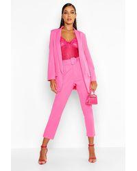 Boohoo Self Belt Dress Trousers - Pink
