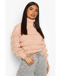 Boohoo Womens Petite Bubble Knit Roll Neck Jumper - Pink
