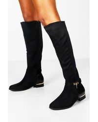 Boohoo Croc Panel Stretch Back Flat Knee High Boots - Black