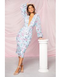 Boohoo Occasion Sequin Puff Sleeve Midi Dress - Blue