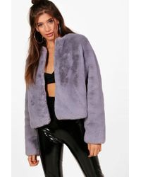 Boohoo - Hailey Boutique Crop Faux Fur Coat - Lyst