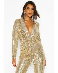 Boohoo Sequin Tie Belt Blazer - Metallic