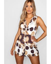 Boohoo - Plus Chain Print Tie Front Playsuit - Lyst
