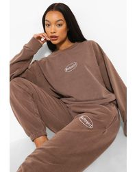 Boohoo Overdyed Marl Embroidered Tracksuit - Brown