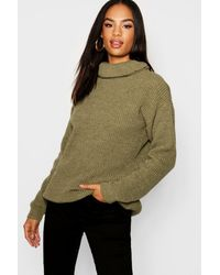 Boohoo Womens Tall Pullover mit Rollkragen - Grün