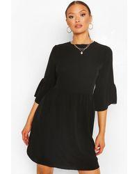 Boohoo Frill Sleeve Smock Dress - Black