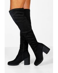 Boohoo Chunky Over The Knee Boots - Black