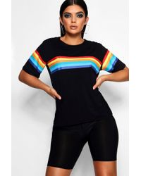 Boohoo - Rainbow Chest And Sleeve Oversized T-shirt - Lyst