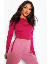 Boohoo Crew Neck Ruched Side Long Sleeved Top - Orange