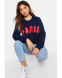 Boohoo - Paris Slogan Sweat - Lyst