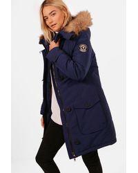 Boohoo - Faux Fur Trim Hooded Padded Jacket - Lyst